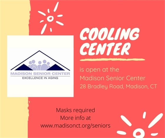 Cooling Center open at Senior Center Masks required. More info online