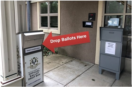 Drop Ballots Here - photos displays arrow pointing to the drop box at town hall