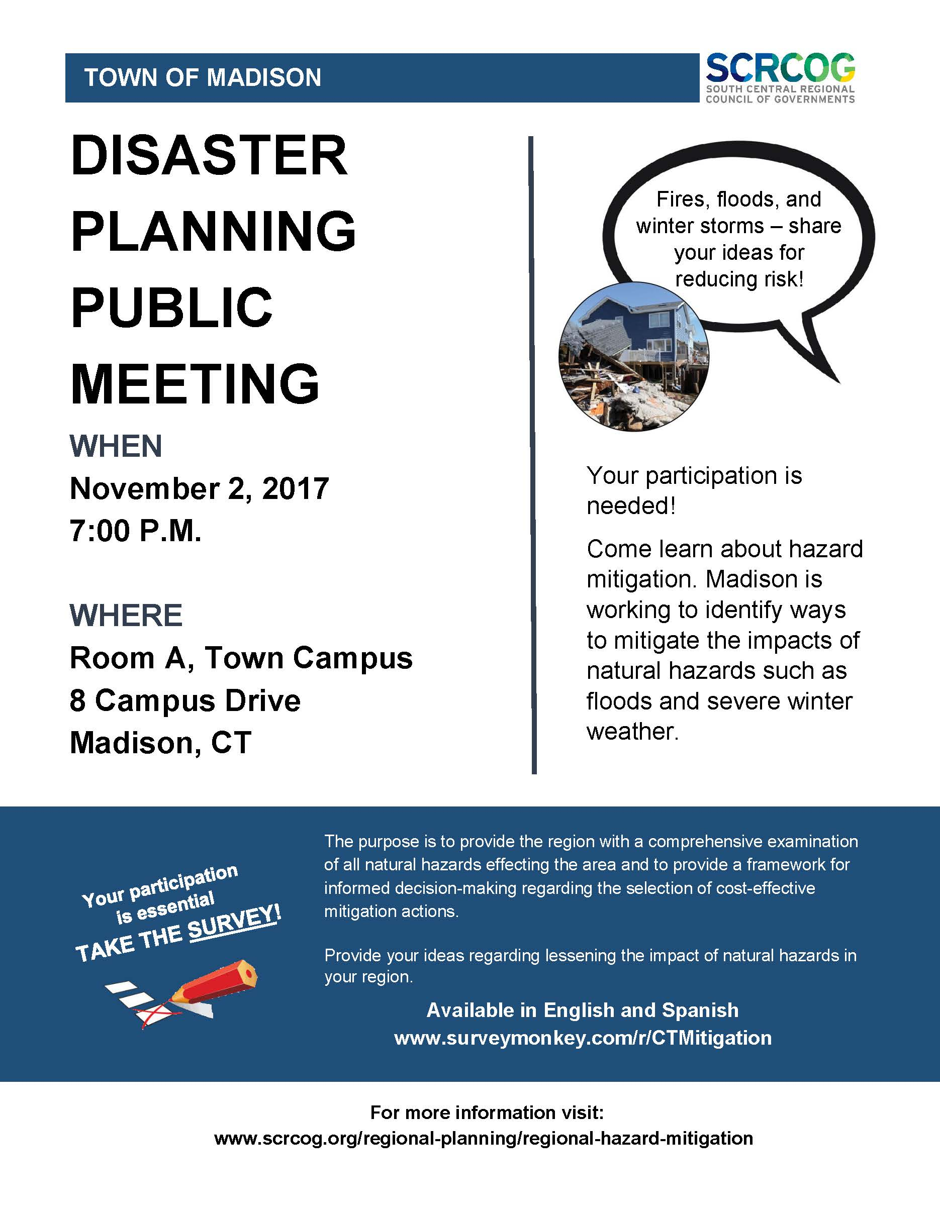 SCRCOG Public Meeting Flyer - Nov 2, 2017 at 7 PM at Madison Town Campus