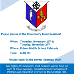 Community Input Sessions November 15 & 27; 6:30 PM at Polson Middle School.  Call (203) 245-5602 for